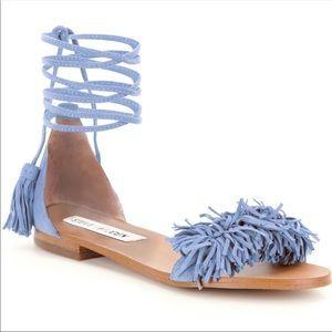 STEVE MADDEN Alaine Tassel Sandals EUC 7.5 Blue